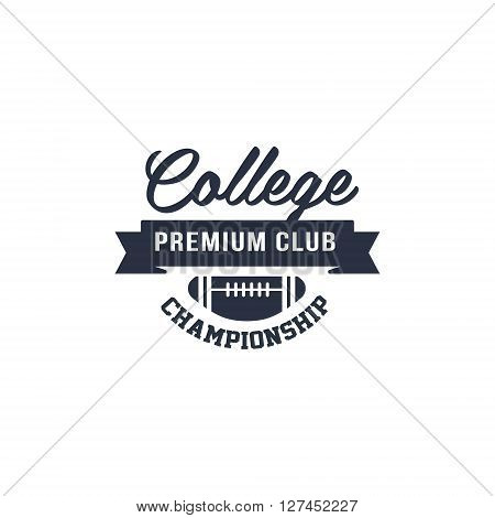 Classic College Football  Black And White Vintage Design Isolated On White Background Vector Print