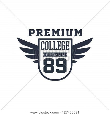 Classic Sport Label In Stape Of A Badge  Black And White Vintage Design Isolated On White Background Vector Print