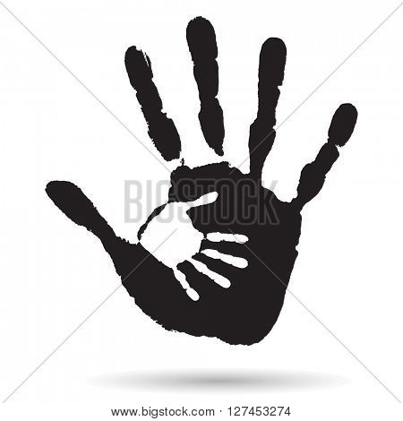 Concept or conceptual cute black paint hand of mother child handprint isolated on white background