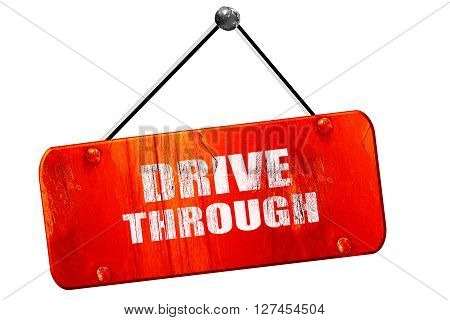 Drive through food with some smooth lines, 3D rendering, red grunge vintage sign