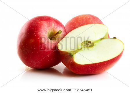 roter Apfel, isolated on the white