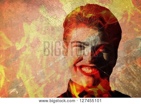 man in fiery flames with evil grin
