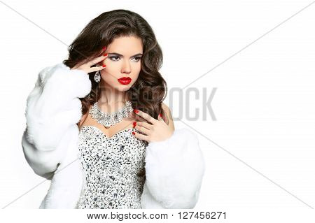 Beauty Makeup. Long Hair. Beautiful Woman In Luxury White Mink Fur Coat. Manicured Polish Nails. Fas