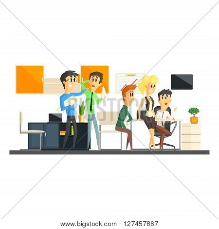 Office Team Working Flat Vector Graphic Geometric Style Illustration On White Background