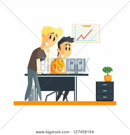 Office Team Success Flat Vector Graphic Geometric Style Illustration On White Background
