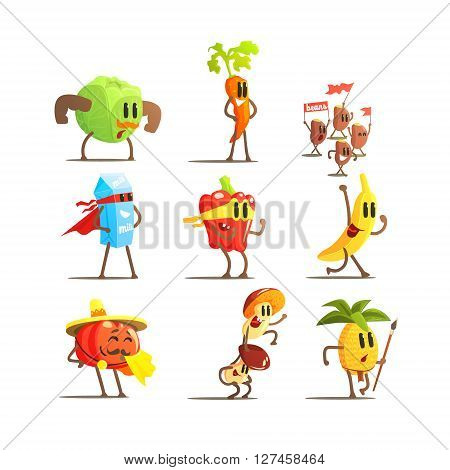 Healthy Food Cartoon Characters Flat Vector Design Cute Funny Childish Style Set Of Icons On White Background