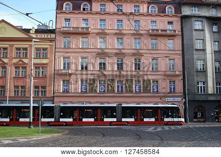 Prague Czech Republic - April 24 2016: Modern Articulated City Tramway Skoda 15T (Skoda ForCity Alfa) at the Prague Street