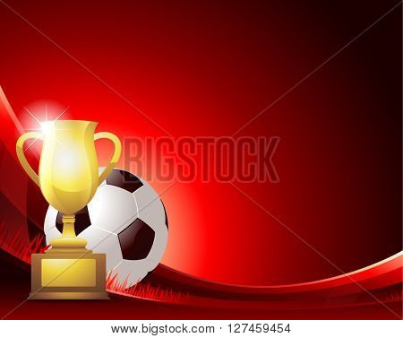 Red Soccer background with ball and trophy