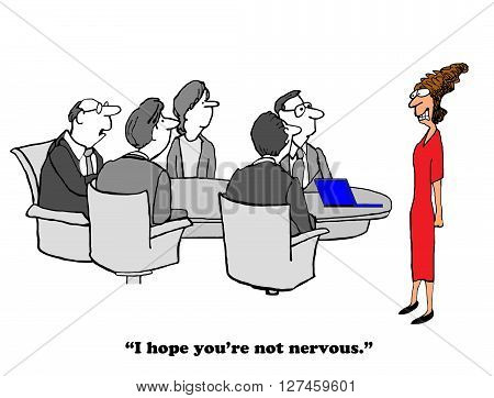 Business cartoon about being very nervous giving a presentation.