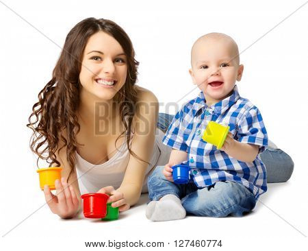 Young woman with baby boy isolated