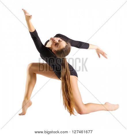 Young girl engaged art gymnastic isolated