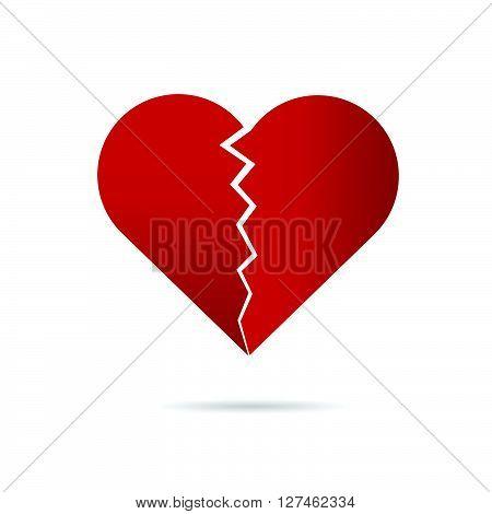 heart break illustration in red on white