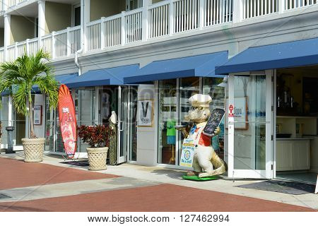 KEY WEST, FL, USA - JAN 1: Colorful Shops at Key West cruise port on Jan 1st, 2015 in Key West, Florida, USA.