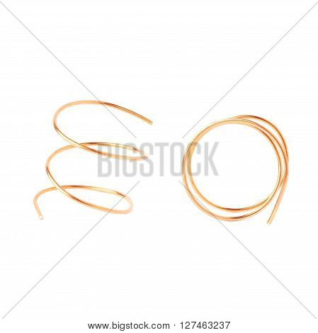 Bronze metal wire over white isolated background