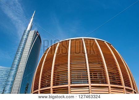 Milan - April 14 : Wide angle view of wooden lattice pavilion in Milan on April 14, 2106