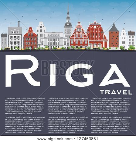 Riga Skyline with Landmarks, Blue Sky and Copy Space. Business Travel and Tourism Concept with Historic Buildings. Image for Presentation Banner Placard and Web Site.