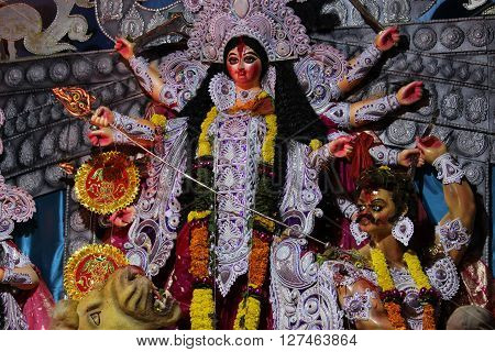 Durga Pooja Festival...Picture of Godess Durga taken during navratri festival..killing the rakshasha.