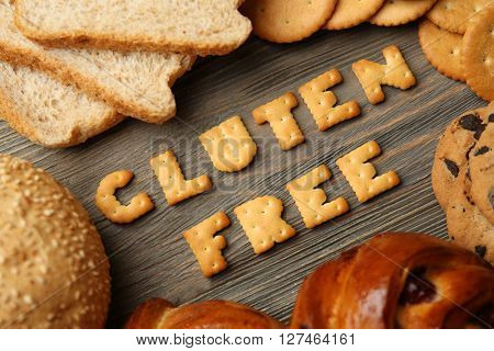 Gluten Free text and bakery on wooden table