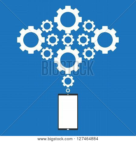 Smartphone mobile connected to gears cloud. Vector illustration cloud computing concept design.