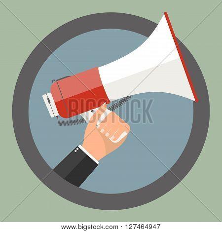 Businessman hand holding megaphone sign on green background. Vector illustration flat business concept design.