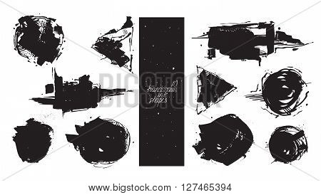 Set of 10 large shapes made with hand and liquid ink freehand with lots of splashes and blob brush smears. Vector black and white illustration good for creative designs drawn with imperfections.