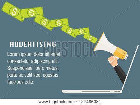 Businessman hand from laptop computer PC holding megaphone with banknote output. Vector illustration business online advertisement concept.