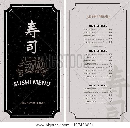 sushi menu with hieroglyph and a wooden tray and Price. Hieroglyph sushi