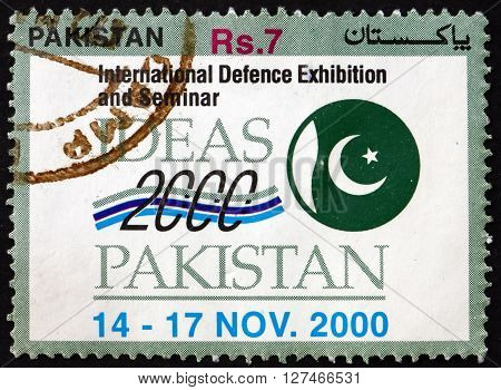 PAKISTAN - CIRCA 2000: a stamp printed in Pakistan dedicated to International Defense Exhibition and Seminar circa 2000