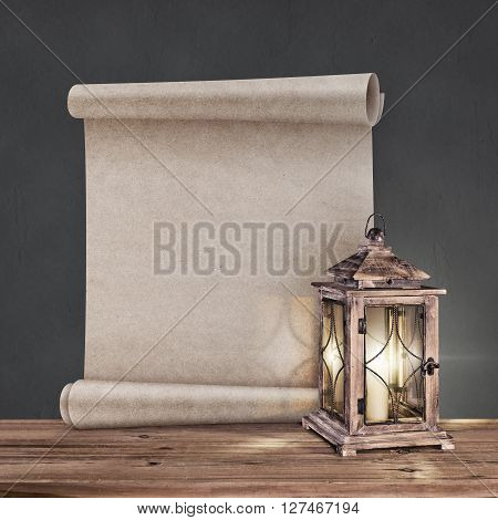 vintage lantern with antique scroll on gray background