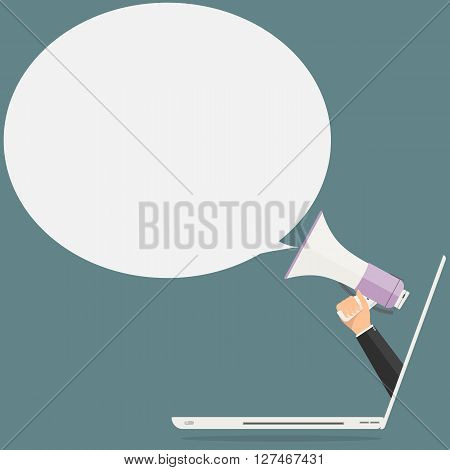Businessman hand from laptop computer PC holding megaphone for advertising with bubble speech . Vector illustration business online advertisement concept.