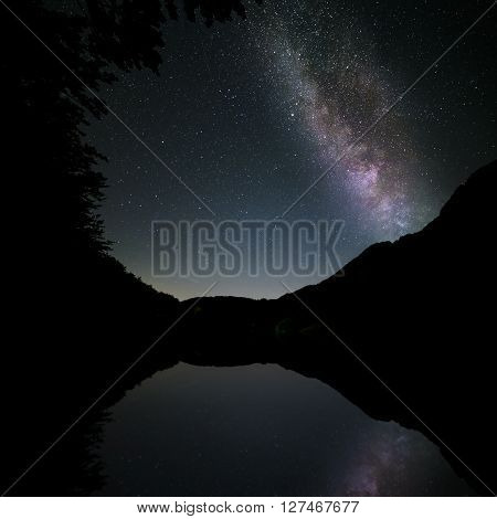 milkyway reflected in the lake in the mountains