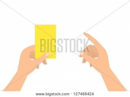 Football soccer referee hands with yellow card and finger pointing on white background.