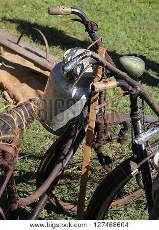 Milk Canister And Rusty Historic Bike Milkman