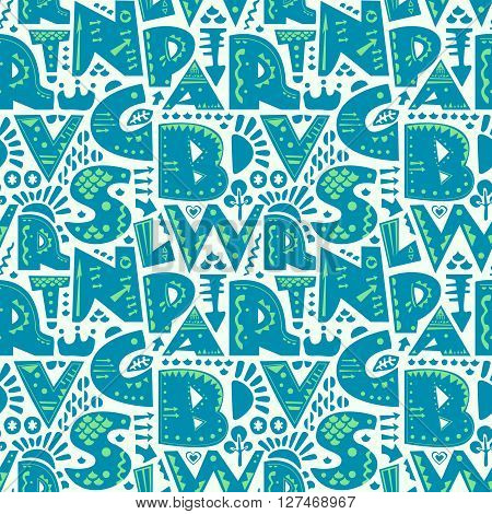 Cute seamless pattern with alphabet letters in blue and green on white background. Vector background for print, home decor, textile design, wrapping paper, wallpaper