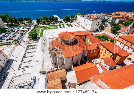 Zadar, Croatia - July 28, 2015: View From The Bell Tower Of The Church Of St. Anastasia On Church Of