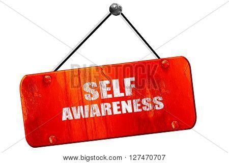 self awareness, 3D rendering, red grunge vintage sign