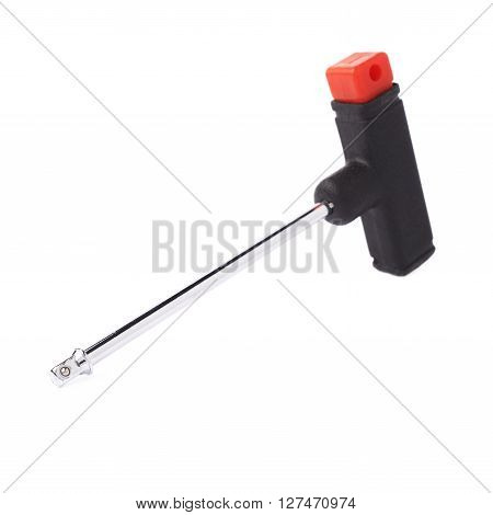 T-shape screwdriver without bit isolated over white background