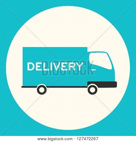 Delivery vector car. Flat illustration. Delivery truck. Moving company. Fast delivery on truck.
