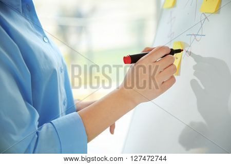 Woman with marker writing on white board