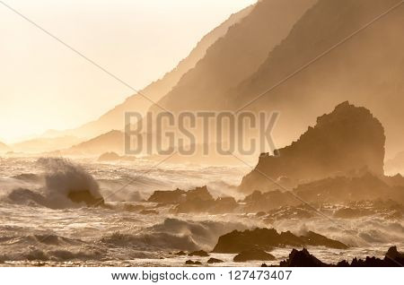 A natural sepia sunset scene of the coast along the Garden Route in the Eastern Cape Province of South Africa