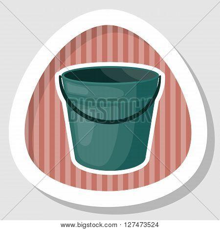 Bucket colorful icon. Empty bucket vector illustration icon