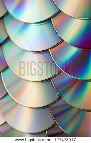 rainbow colorful background of many CD discs