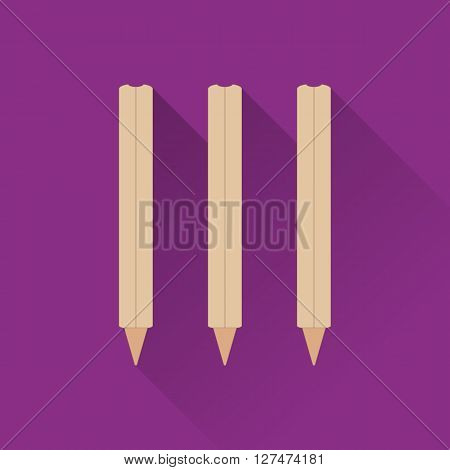 Cricket stumps flat icon. Colored flat image with long shadow on green background. Cricket game equipment flat icons composition. Professional sport theme. Unique modern style. Vector concept.