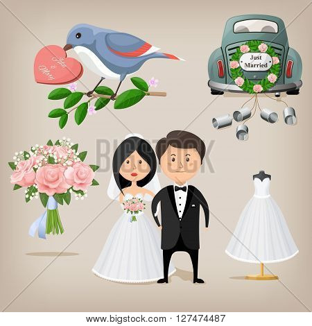 Wedding and marriage set. Vector illustration EPS10