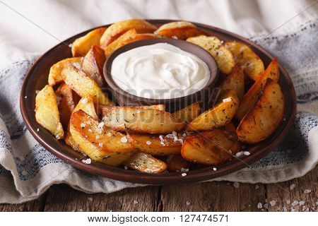 Baked Potato Wedges With Herbs On A Plate Closeup. Horizontal