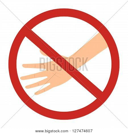 Prohibited circle do not touch sign with skintone color hand isolated on white background vector illustration design.