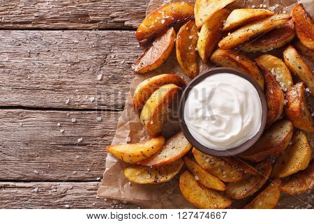 Fast Food: Potato Wedges And Mayonnaise. Horizontal Top View