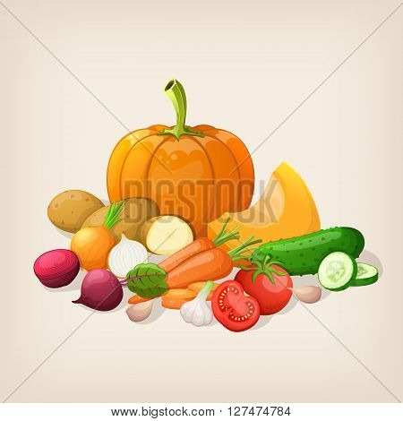 Harvest juicy and ripe vegetables. Vector illustration.