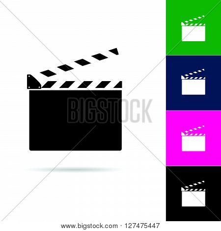 film clapper icon illustration in colorful on white