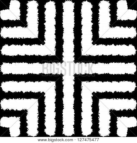 Fantasy abstract seamless patterns made with ink. Monochrome freehand texture. Black and white modern freehand background with destroyed lines. Vector illustration.